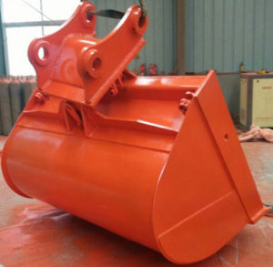 Newly painted red orange tilting bucket